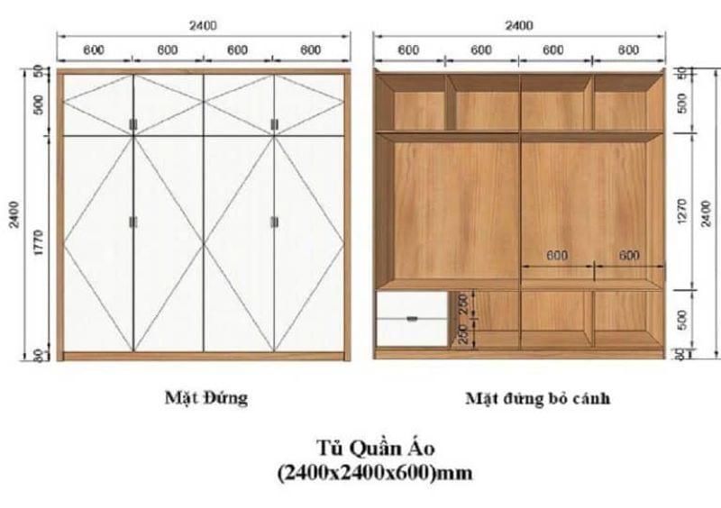 kích thước tủ quần áo theo phong thuỷ lỗ ban 9