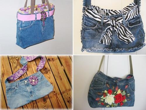 tái chế quần áo cũ thành túi treo tường 3